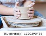 pottery workshop. handmade... | Shutterstock . vector #1120390496