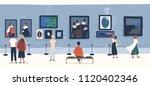 visitors of classic art gallery ... | Shutterstock .eps vector #1120402346