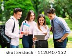 group of college students with... | Shutterstock . vector #1120407152