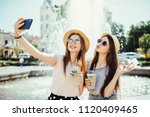 hipster girls in sunglasses... | Shutterstock . vector #1120409465