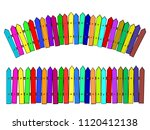 rural wooden colorful cartoon... | Shutterstock .eps vector #1120412138