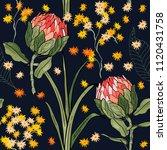 retro wild seamless flower...   Shutterstock .eps vector #1120431758