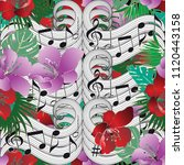music notes floral vector... | Shutterstock .eps vector #1120443158