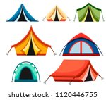 set of hiking and camping tent. ... | Shutterstock .eps vector #1120446755