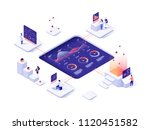 people interacting with charts... | Shutterstock .eps vector #1120451582