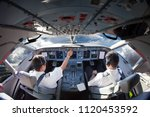 flight deck of modern aircraft. ... | Shutterstock . vector #1120453592