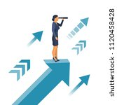 businesswoman standing on arrow ... | Shutterstock .eps vector #1120458428