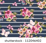 butterfly with floral seamless... | Shutterstock . vector #112046402