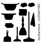 black silhouette. cleaning set...   Shutterstock .eps vector #1120467482