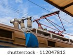 railroad overhead lines against ... | Shutterstock . vector #112047812