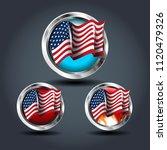american flag set  steely...