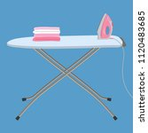 pink iron and white ironing... | Shutterstock .eps vector #1120483685