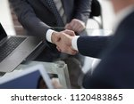 confident handshake of business ... | Shutterstock . vector #1120483865