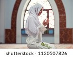 arabic young muslim woman... | Shutterstock . vector #1120507826