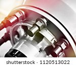 bolts and nuts of wheel of... | Shutterstock . vector #1120513022