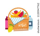 wicker picnic basket with fruit ... | Shutterstock .eps vector #1120547762