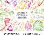 Healthy Food Frame Vector...