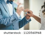 a stylish bridegroom with bow... | Shutterstock . vector #1120560968