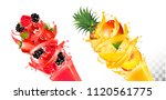 fruit in juice splashes.... | Shutterstock .eps vector #1120561775
