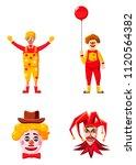 clown icon set. cartoon set of... | Shutterstock . vector #1120564382