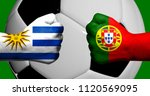 Flags of Uruguay and Portugal painted on two clenched fists facing each other with closeup 3d soccer ball in the background/Mixed media football match concept
