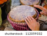 Man Playing The Djembe  Africa...