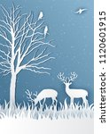 deer in forest with snow in the ... | Shutterstock .eps vector #1120601915