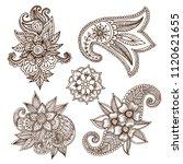 henna tattoo mehndi flower... | Shutterstock .eps vector #1120621655