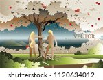 vector naked man and woman... | Shutterstock .eps vector #1120634012