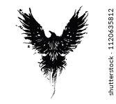 raven painted in ink. flying... | Shutterstock .eps vector #1120635812