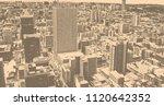 matte vintage. skyscrapers in... | Shutterstock . vector #1120642352