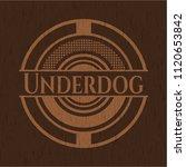 underdog wood emblem. retro | Shutterstock .eps vector #1120653842