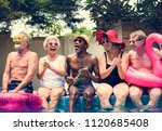 group of diverse senior adults... | Shutterstock . vector #1120685408