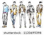 fashion man. set of fashionable ... | Shutterstock .eps vector #1120695398