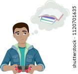 illustration of a teenage guy... | Shutterstock .eps vector #1120701635