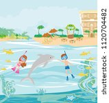 girl and boy are diving with a... | Shutterstock .eps vector #1120704482