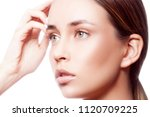 beauty girl face close up.... | Shutterstock . vector #1120709225