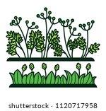 green grass and flower plants... | Shutterstock .eps vector #1120717958
