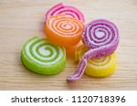 fruit jelly roll with sprinkle... | Shutterstock . vector #1120718396