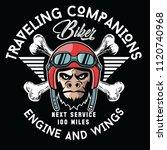 motorcycle helmet monkey.vector ... | Shutterstock .eps vector #1120740968