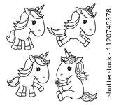 vector cute baby  unicorn black ... | Shutterstock .eps vector #1120745378
