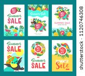 summer sale. a set of colorful... | Shutterstock .eps vector #1120746308