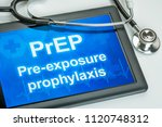 tablet with the text prep on... | Shutterstock . vector #1120748312