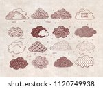 set of doodle sketch clouds on... | Shutterstock .eps vector #1120749938