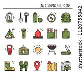 hiking and camping line icons... | Shutterstock .eps vector #1120755842