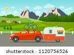 funny  family driving in car... | Shutterstock .eps vector #1120756526