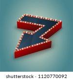 retro arrow with glowing lights.... | Shutterstock .eps vector #1120770092