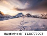 landscape of snow mountains... | Shutterstock . vector #1120773005