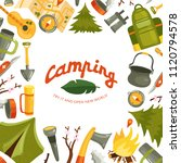 equipment for camping in forest ... | Shutterstock .eps vector #1120794578