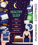 healthy sleep poster with alarm ... | Shutterstock .eps vector #1120794632